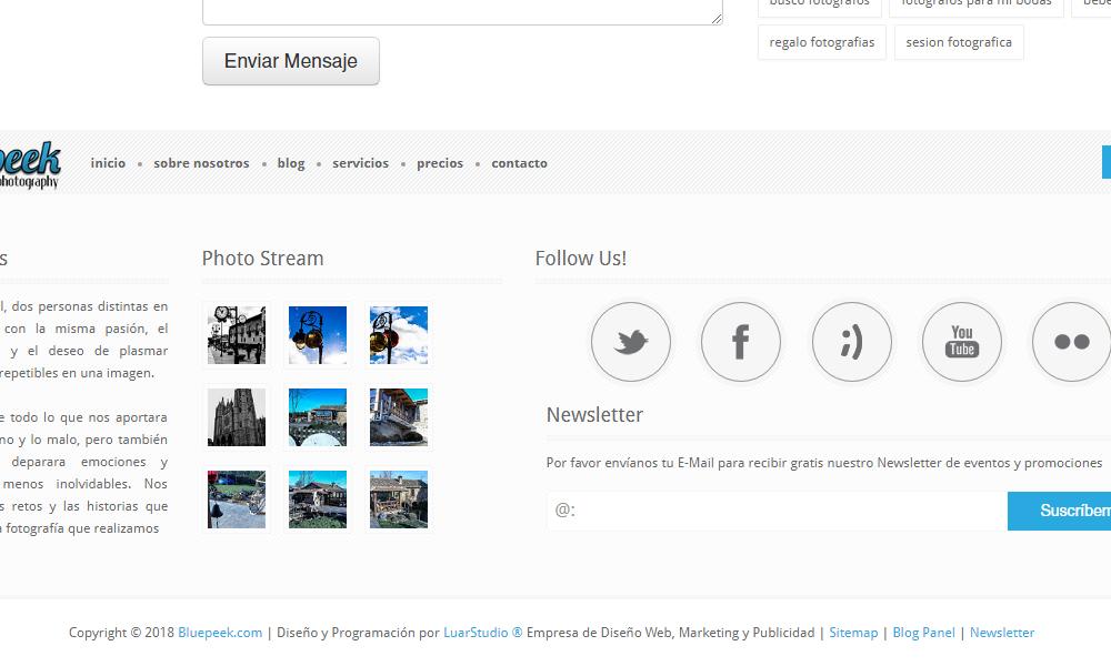 Diseño de página web Bluepeek