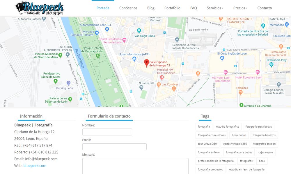 Diseño de página web para fotógrafos Bluepeek