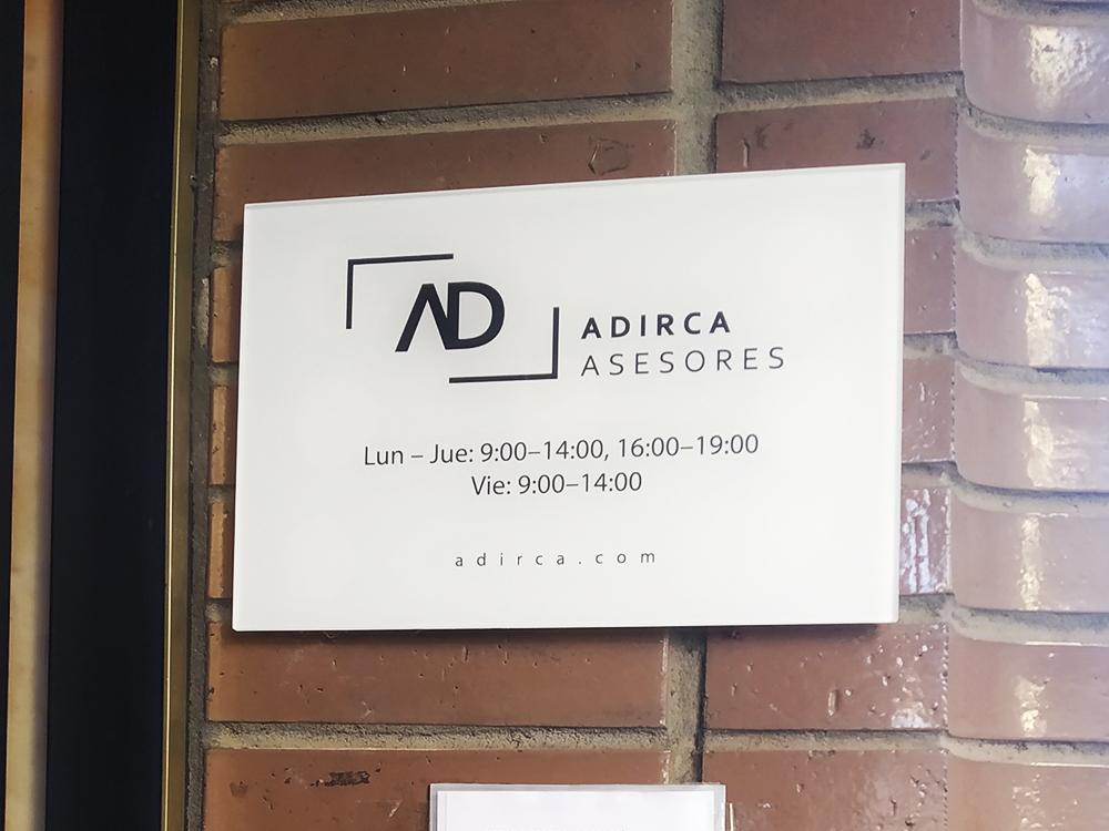 Rotulación corporativa oficinas Adirca Asesores