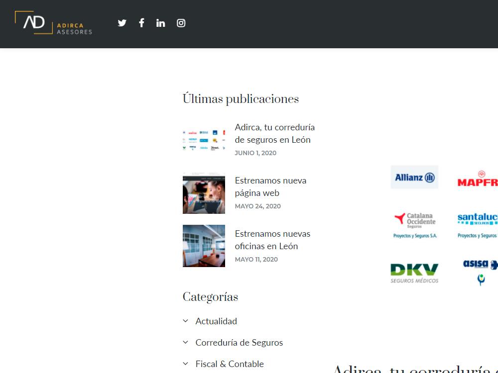 Diseño de página web para Adirca Asesores